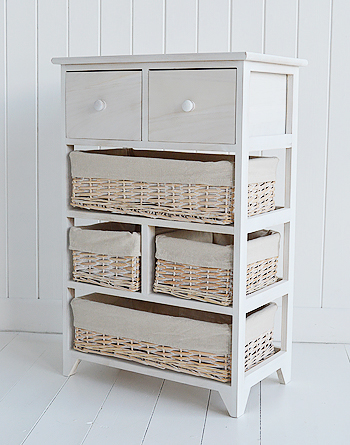 Cape Cod bathroom white wash  furniture with six drawers and baskets