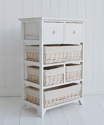 Cape Cod storage furniture with six drawers and baskets - side