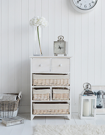 Cape Cod bedroom storage furniture, chest of drawers with 6 drawers including baskets from The White Lighthouse Furniture