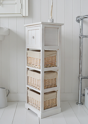 Cape Cod slim white wash bathroom cabinet with 4 drawers