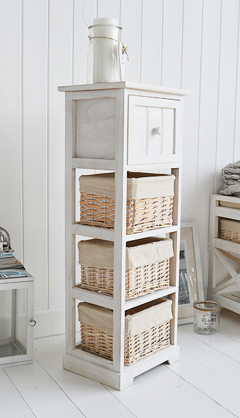 Cape Cod Slim White Bathroom Storage Furnitue With 4 Drawers