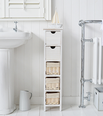 Slim 20 Cm Wide Cape Cod White Bathroom Narrow Storage Furnitue With 5 Drawers And Baskets