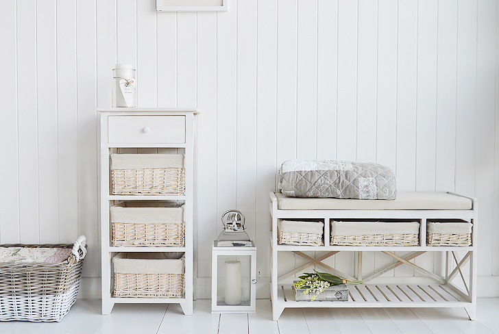 Cape Cod storage furniture, shoe storage bench and tall cabinet
