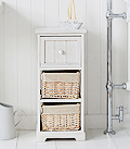 Cape Cod White Wash Storage Furniture . Narrow Slim Bathroom Cabinet with 3 drawers