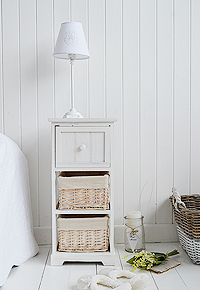 Cape Cod white bedside table with three drawers