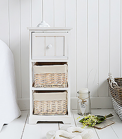 Cape Cod Narrow bedside cabinet with 3 drawers in a white wash finish