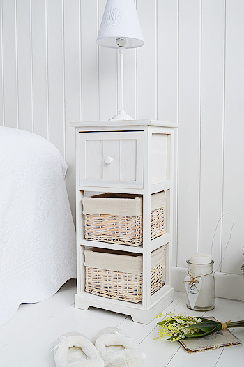 Cape Cod bedside narrow bedside table with 3 drawers from The White Lighthouse Bedroom Furniture