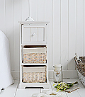 Cape Cod small White wash Bedside Cabinet with 3 drawers