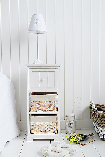 Cape Cod small narrow bedside table with 3 drawers from The White Lighthouse Bedroom Furniture