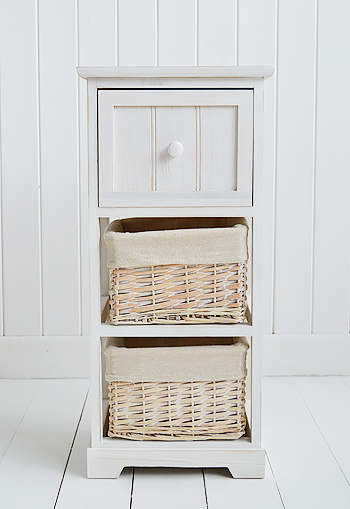 Cape Cod White Bathroom Storage Furnitue With 3 Drawers