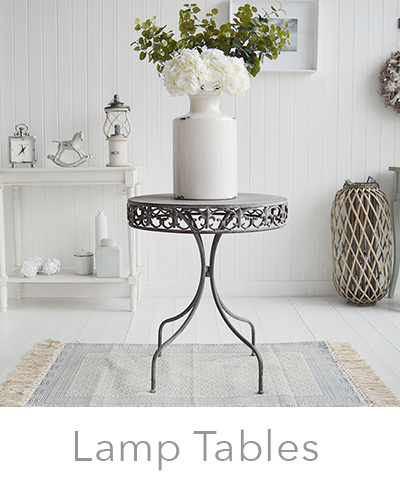 White lamp tables for living room furniture in New England coastal and country style interiors