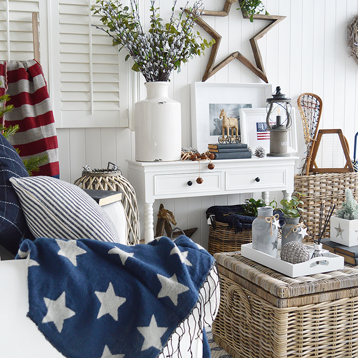 Get The New England Look with our white furniture. A traditional white living room with accents of the red white and blue stars and stripes. These colours are perfect along side white furniture to create the coastal and country home interiors