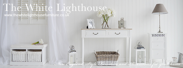This photo shows our White New England furniture and home accessories for Bedroom, Living Room, Hallway and Bathroom. Coastal, Nautical French and Scandinavian style home interiors