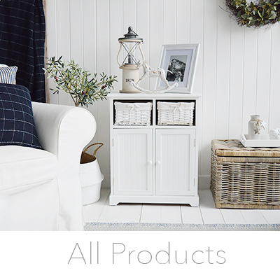 all white furniture and home decor pieces from The White Lighthouse New England style interior design for coastal, country and city homes
