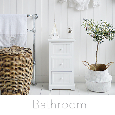 Create a beautiful bathroom with our white bathroom cabinets, furniture and storage for New England coastal, country, cottage and city UK homes