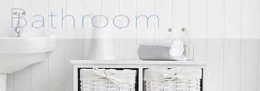 New England country and coastal white bathroom furniture