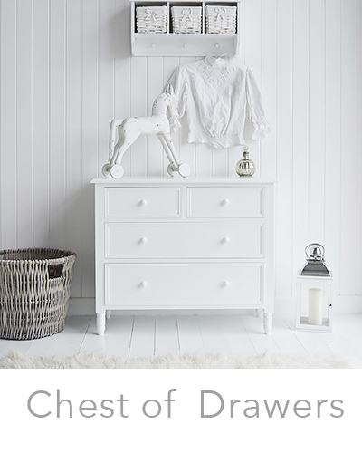 White Chest of drawers. Narrow, slim and large