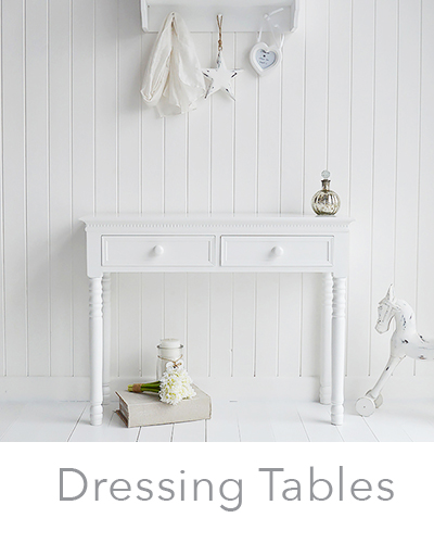 White dressing tables with drawers for New England country, coastal and cottage home interiors