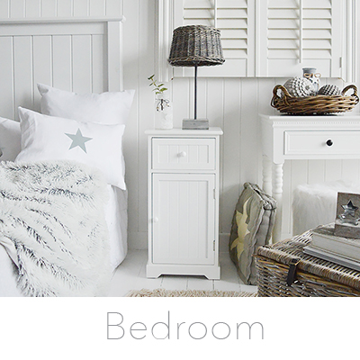 New England white bedroom furniture, bedside tables, cabinets, dressing tables, ideas for decorating a white bedroom in a laid back style.