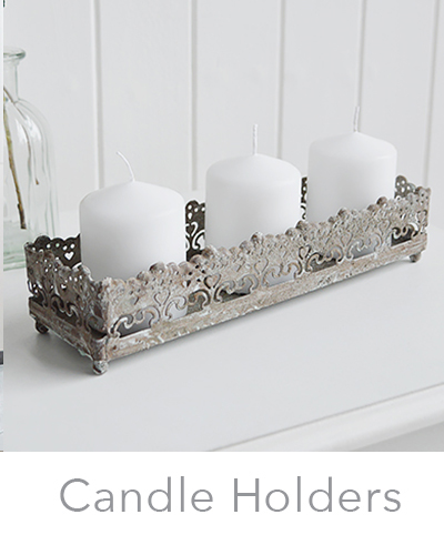 White and grey New England and coastal candle holders
