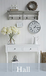 New England hall table white drawers for hallway furniture