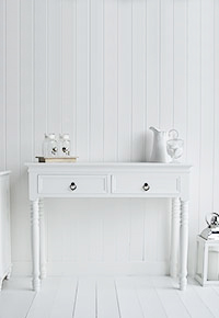 New England White Dresser Table with Antique Brass Handles Range