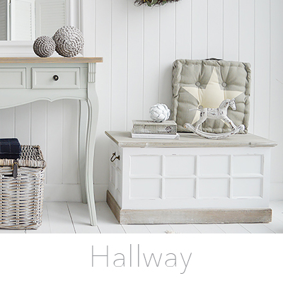 Hallway fruniture. Entry way furniture for all halls from narrow and small to grand dining halls in our New England style of interior design for country, coastal, cottage and city homes for delivery in UK from The White Lighthouse