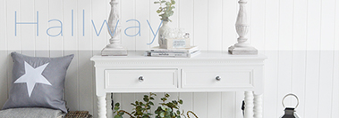 Hallway furniture and hall storage solutions for New England, coastal, white furniture