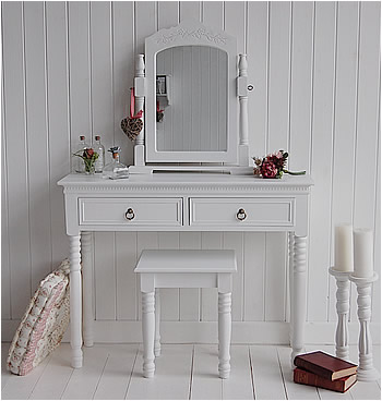 New England White Dressing Table featured product. Shown here with stool and mirror for white bedroom furniture
