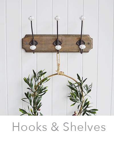 hooks and shelves for home storage
