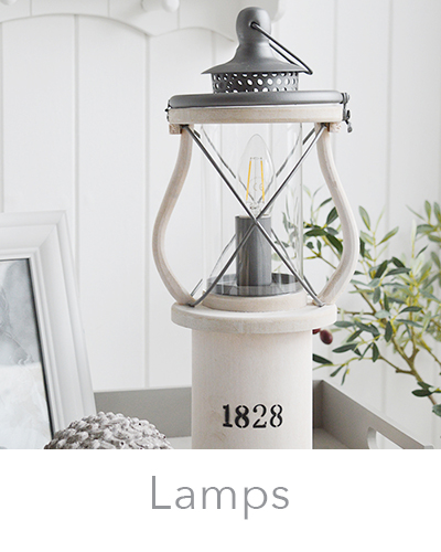 New Englns style lamps for beside the bed. Coastal and country cottage homes