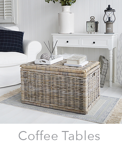 New England coastal, country and city coffee tables, with storage, willow, grey and white