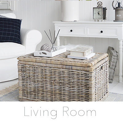 White Living room furniture for New England styled home interiors. Coffee tables, lamp tables, tv units .. many ideas for decorating a stylish living room