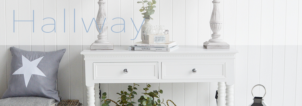 The White Lighthouse Hallway Furniture online for UK Delivery, Entryway decorating ideas where we bring together a large collection of entrance way furniture. Console tables, storage, coat stands and a range of small hallway furniture for narrow rooms