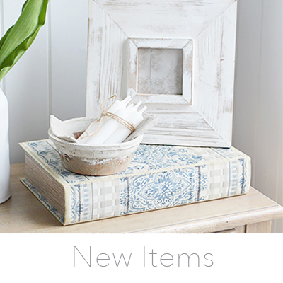 Keep up to date with our latest additions. Home decor accessories and White furniture in New England style for UK home interiors