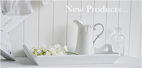 New White Furniture in New England style Items arriving weekly - Hall and Bedroom furniture,  Console Tables, Lamp Tables, coat stand, racks and storage