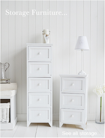 Beautiful and affordable White Storage Furniture for the bedroom, hallway, bathroom and living room from The White Lighthouse, narrow storage solutions for bedroom, bathroom and hall
