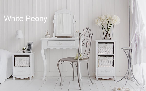 White New England Furniture for the bedroom, a dressing table with storage furniture, chair and accessories