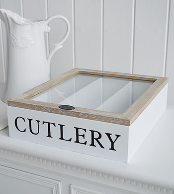 White wooden cutlery holder storage box with lid table for Cutlery storage with lid