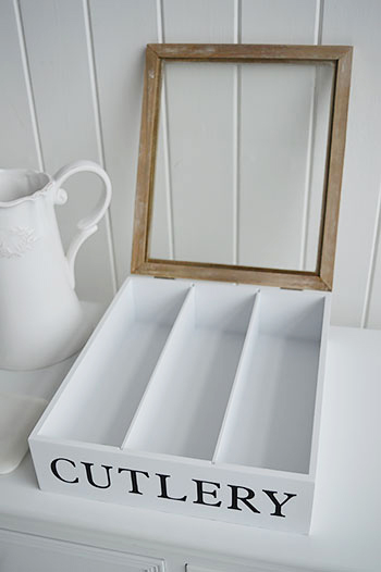White cutlery box with lid from the white lighthouse for Cutlery storage with lid