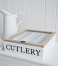 White cutlery box for work top or table with lid