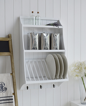 White Kitchen Plate Rack For Plates With Shelf The White Lighthouse