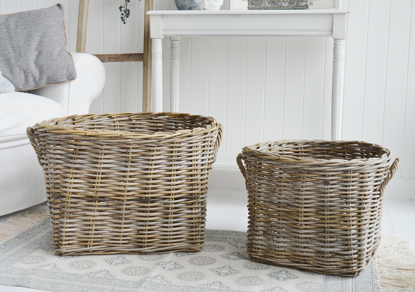 Casco Bay extra large Round basket with handles for logs, toys and everyday storage from The White Lighthouse Furniture and Home Interiors for New England, country, coastal and city homes for hallway, living room, bedroom and bathroom