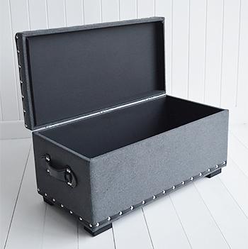 Berkeley Small Grey Storage Trunk Window Seat Hall Storage Bench Blanket Box