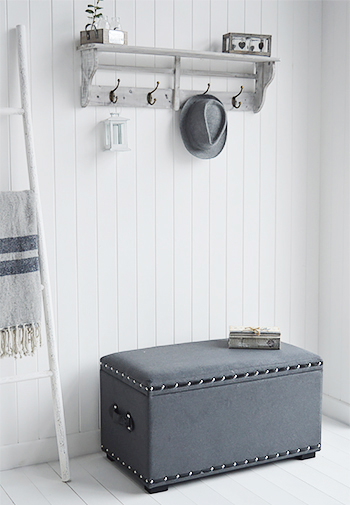 Berkeley grey storage trunk for hall storage seat