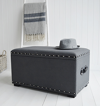 Large Grey Storage trunk for window seat in living room