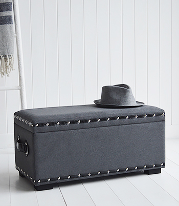 Small grey trunk for living room storage