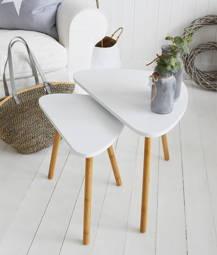 Bethel Cove white nest of tables, coffee table for living room furniture in New England, Coastal, Country and White interiors and homes