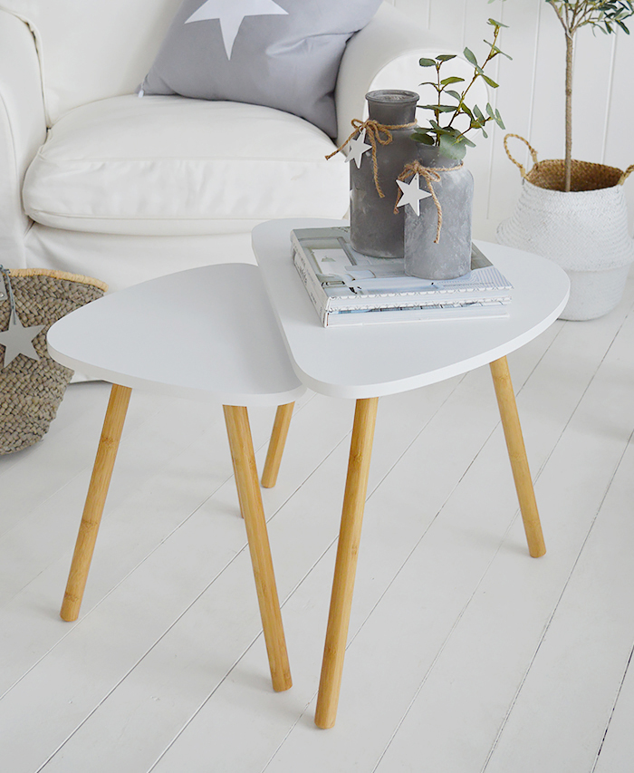 Bethel Cove white nest of tables, coffee table for living room furniture in New England, Coastal, Country and White interiors as a coffee table