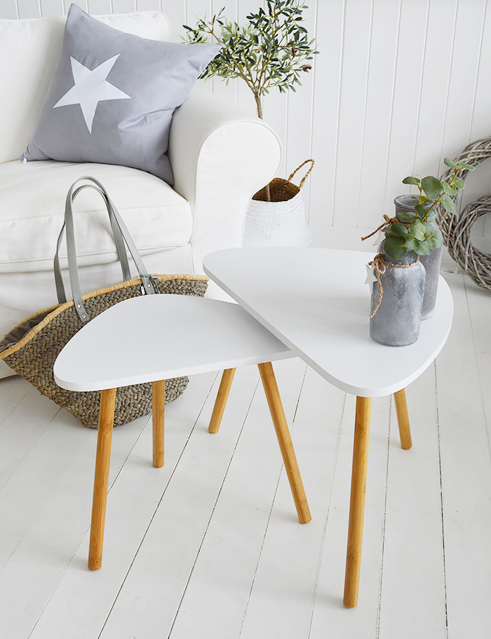 Bethel Cove white nest of tables, coffee table for living room furniture in New England, Coastal, Country and White interiors from The White Lighthouse